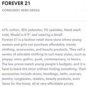 Forever 21 Dresses - Forever 21 Navy Corduroy Mini Dress L
